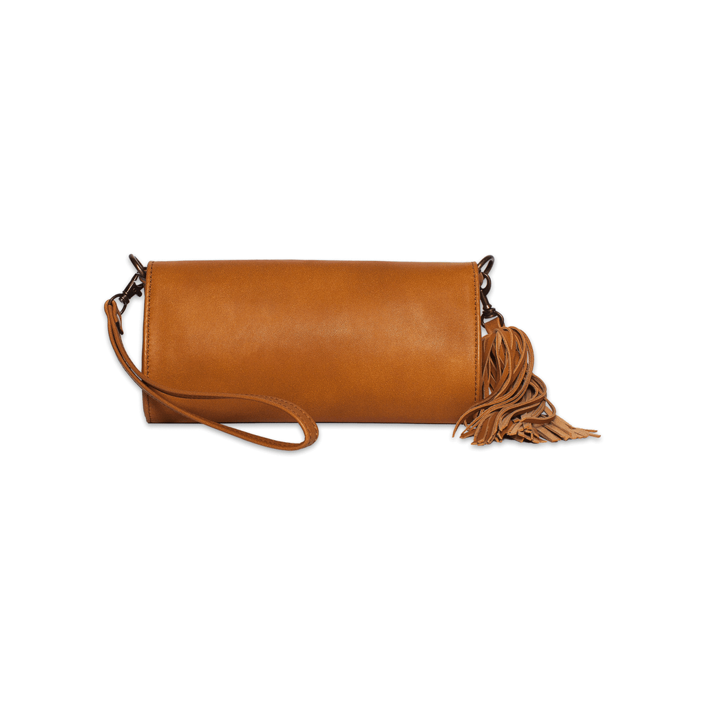 Rehana Camel Leather Clutch Bag back shot