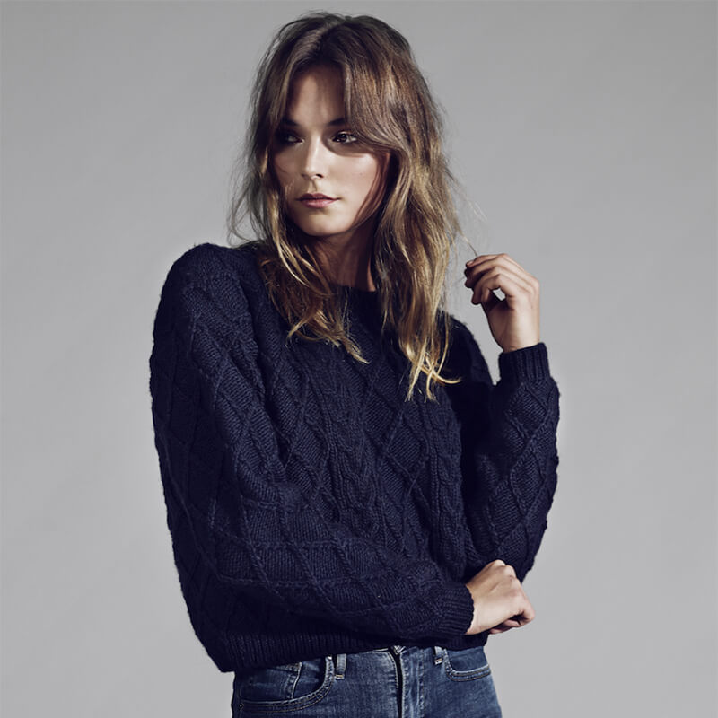 Hand-Knitted Navy Blue Wool Sweater