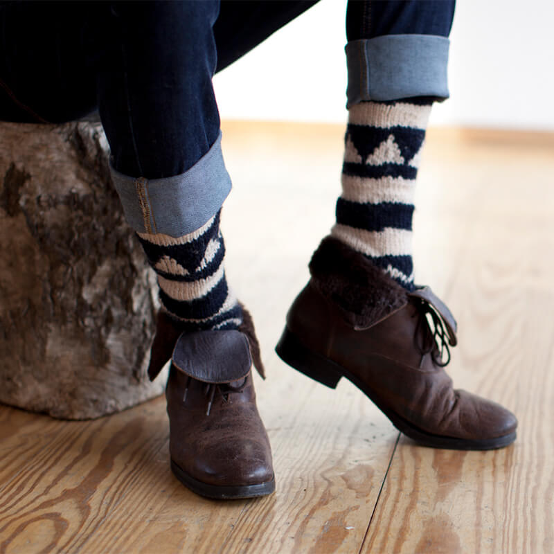 model wearing Hand-Knitted Knee High Socks Unisex with boots