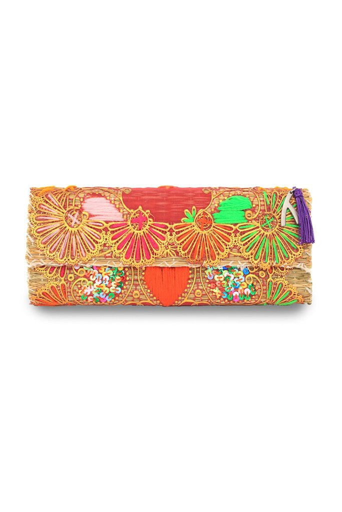 Kate Embroidered Straw Clutch Bag | ABURY Collection - Clutch Bags - ABURY Collection