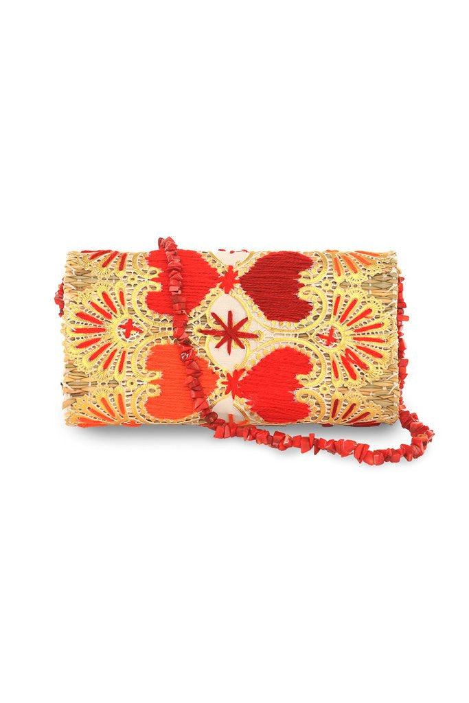 Love Embroidered Straw Clutch Bag | ABURY Collection - Clutch Bags - ABURY Collection