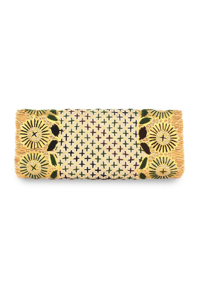 Primavera Embroidered Straw Clutch Bag | ABURY Collection - Clutch Bag - ABURY Collection