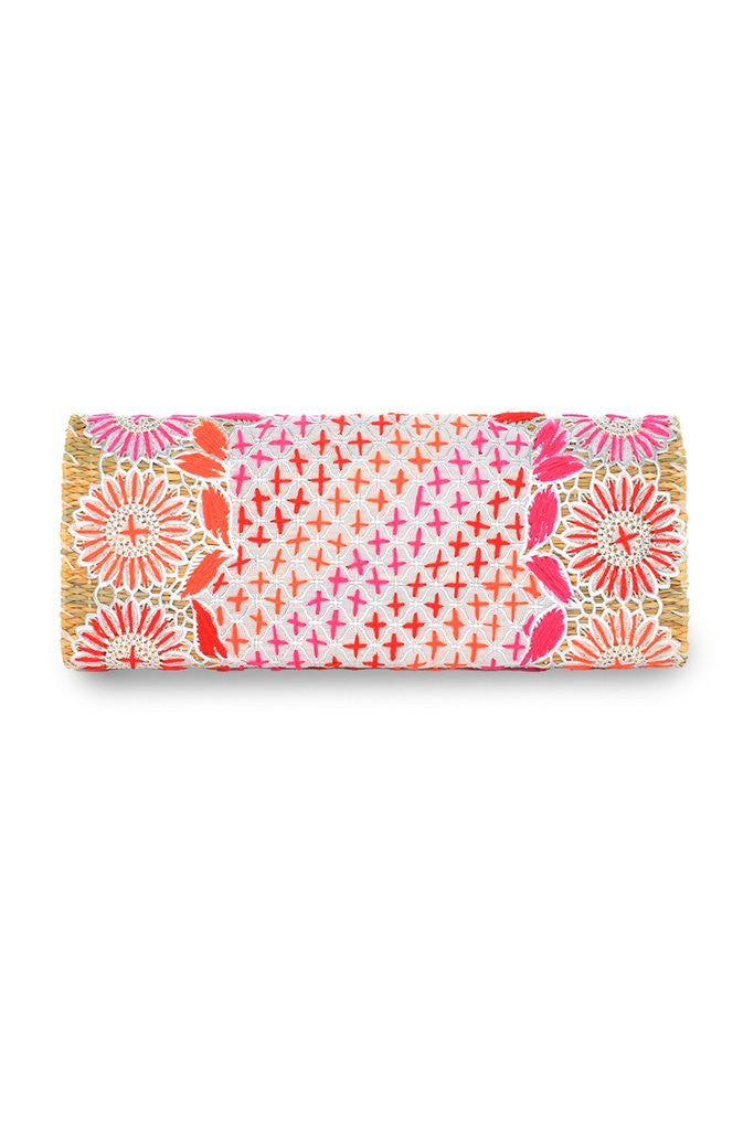 Princessa Embroidered Straw Clutch Bag | ABURY Collection - Clutch Bag - ABURY Collection
