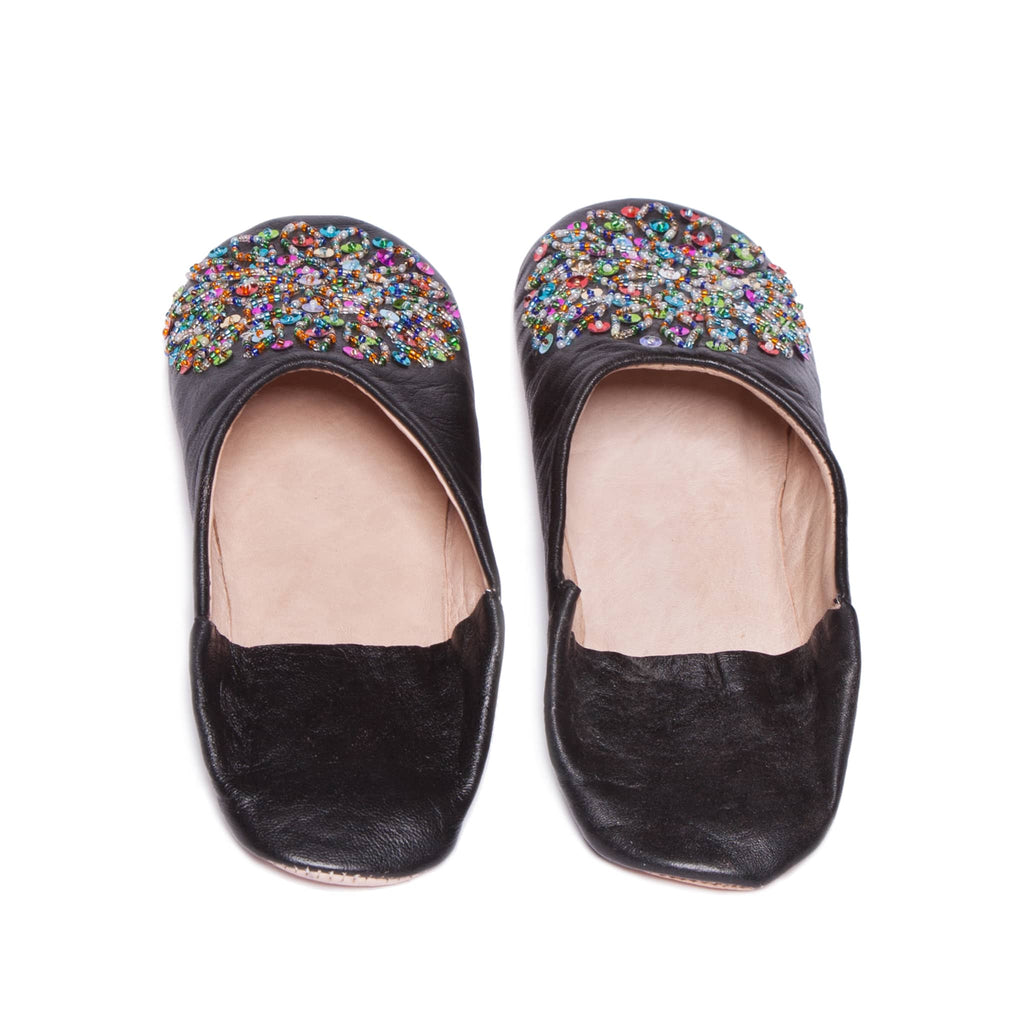 Black Sequined Babouche Leather Slippers
