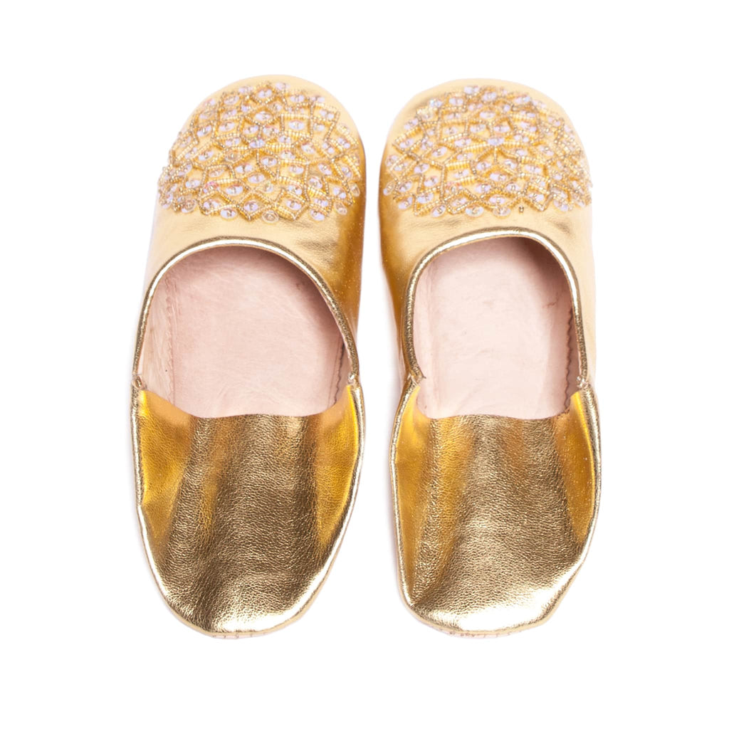 back side gold sequinned abury leather babouche leather slippers