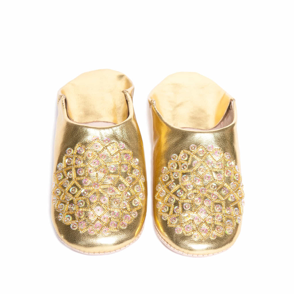 front view gold sequinned abury leather babouche leather slippers