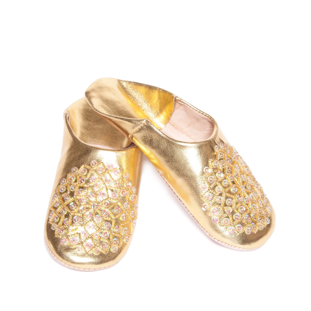 front side golden sequinned abury leather babouche leather slippers