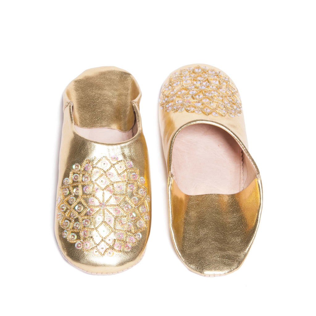 Golden Sequined Babouche Leather Slippers
