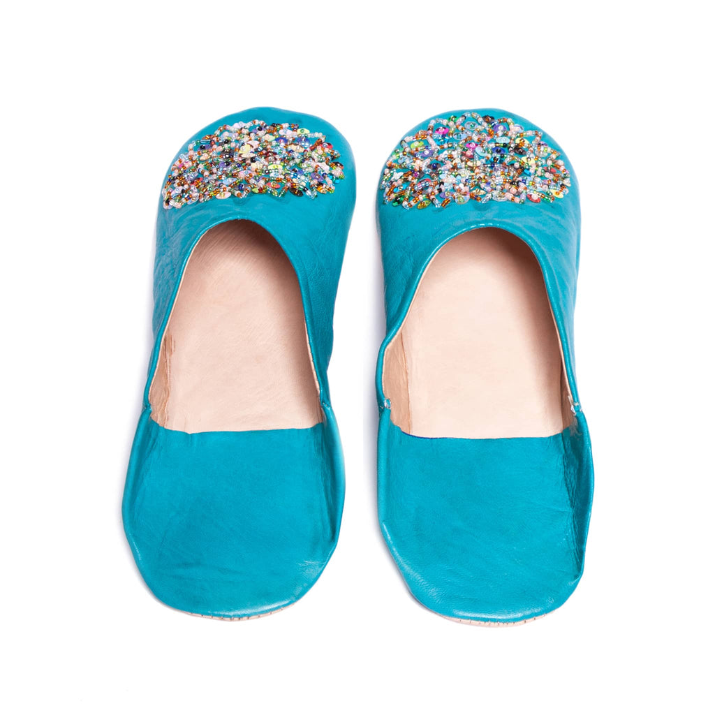 Turquoise Sequined Babouche Leather Slippers
