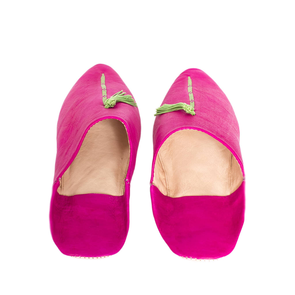 front side pink and green abury leather babouche leather slippers