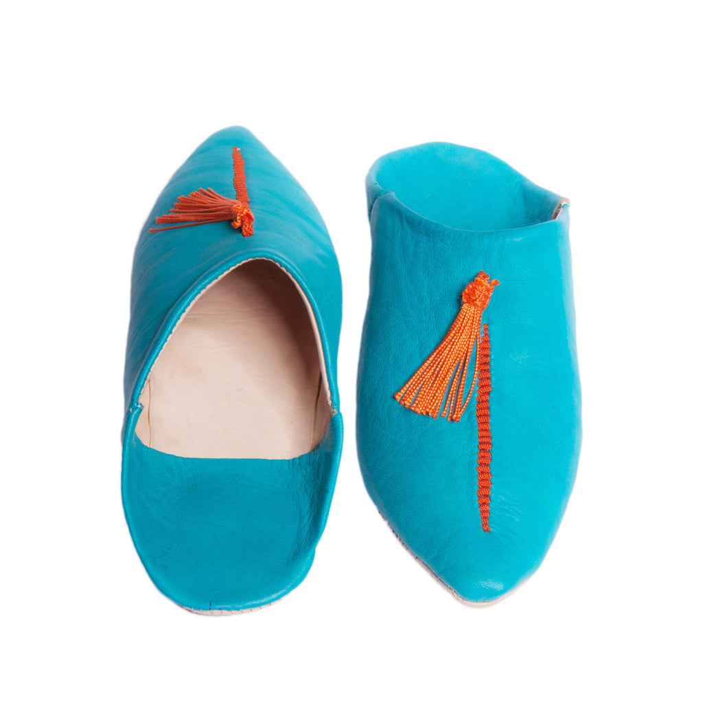 handmade Moroccan turquoise abury leather babouche leather slippers