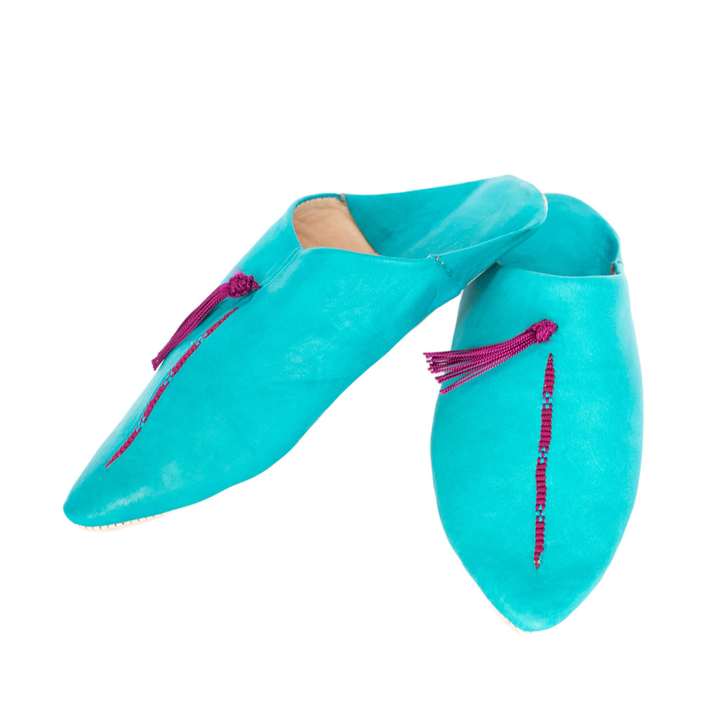 front side turquoise sequinned abury leather babouche leather slippers