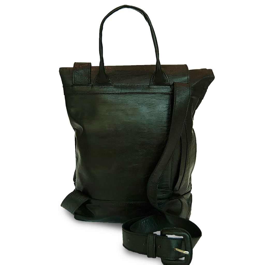 Black Leather Backpack for women product shot back