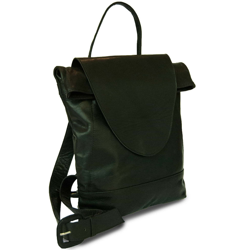 Black Leather Backpack for women product shot side
