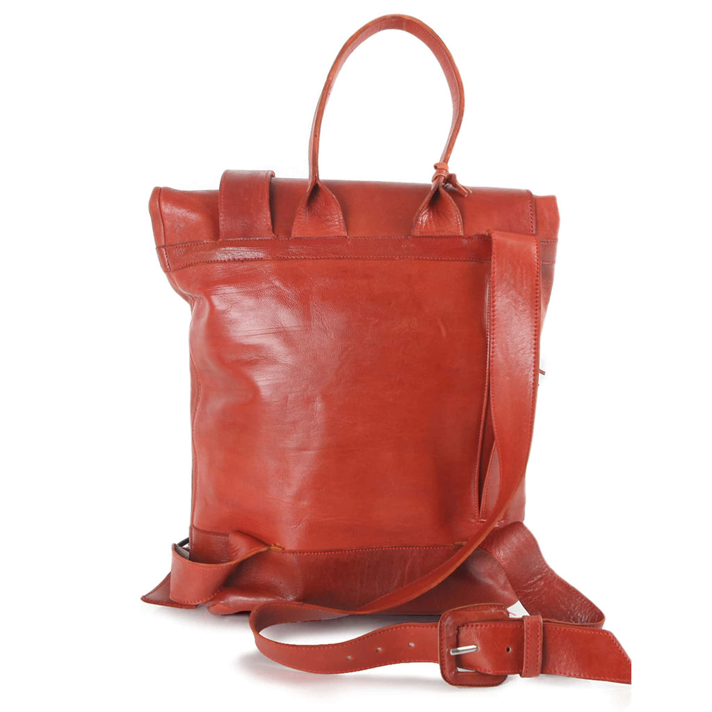 Red Leather Backpack for women sustainable product shot back