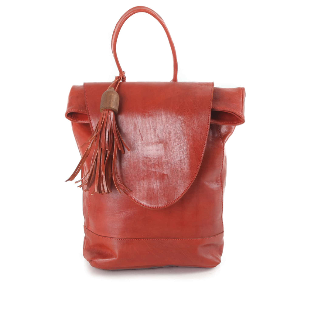Red Leather Backpack for women eco-fashion product shot front