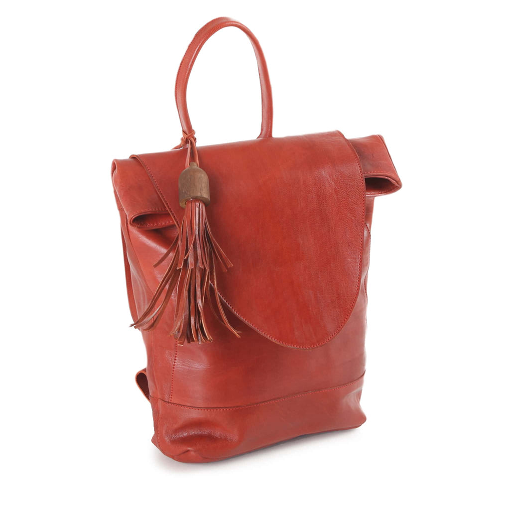 Red Leather Backpack for women eco-fashion lovers
