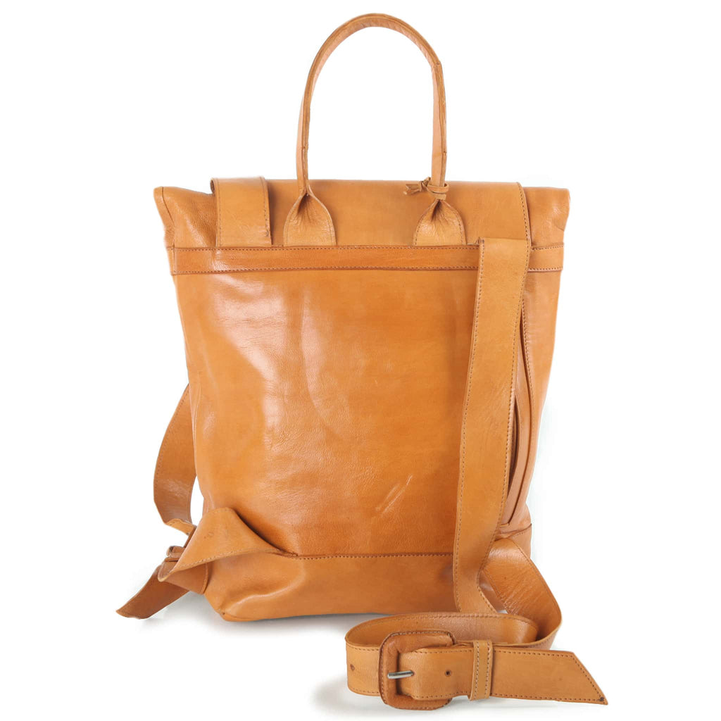 Saffron Leather Backpack for women pack shot back