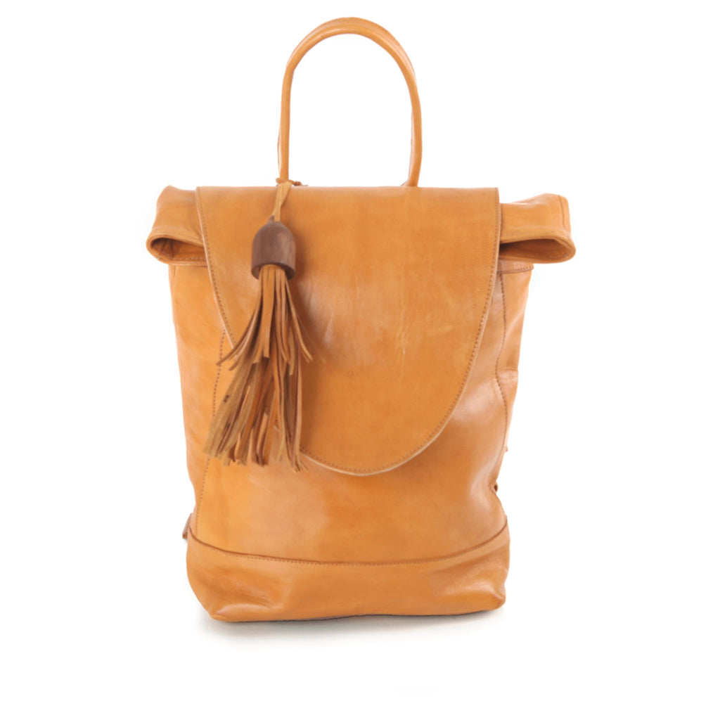 Saffron Leather Backpack for women pack shot front