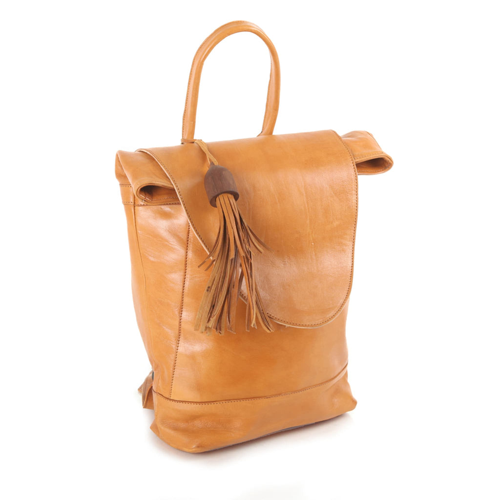 Saffron Leather Backpack for women pack shot side