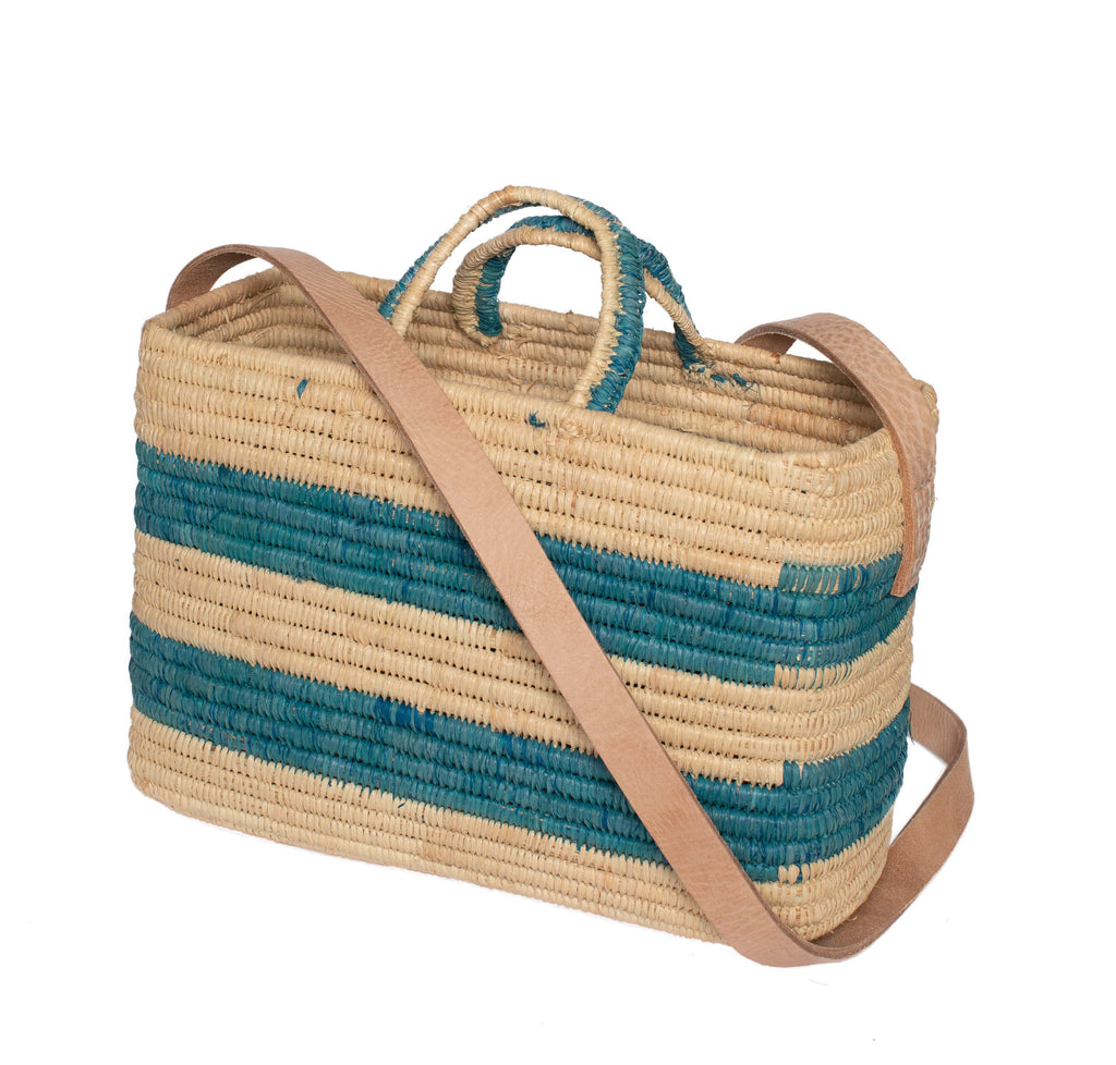 Raffia Summer Basket in Turquoise, Nature