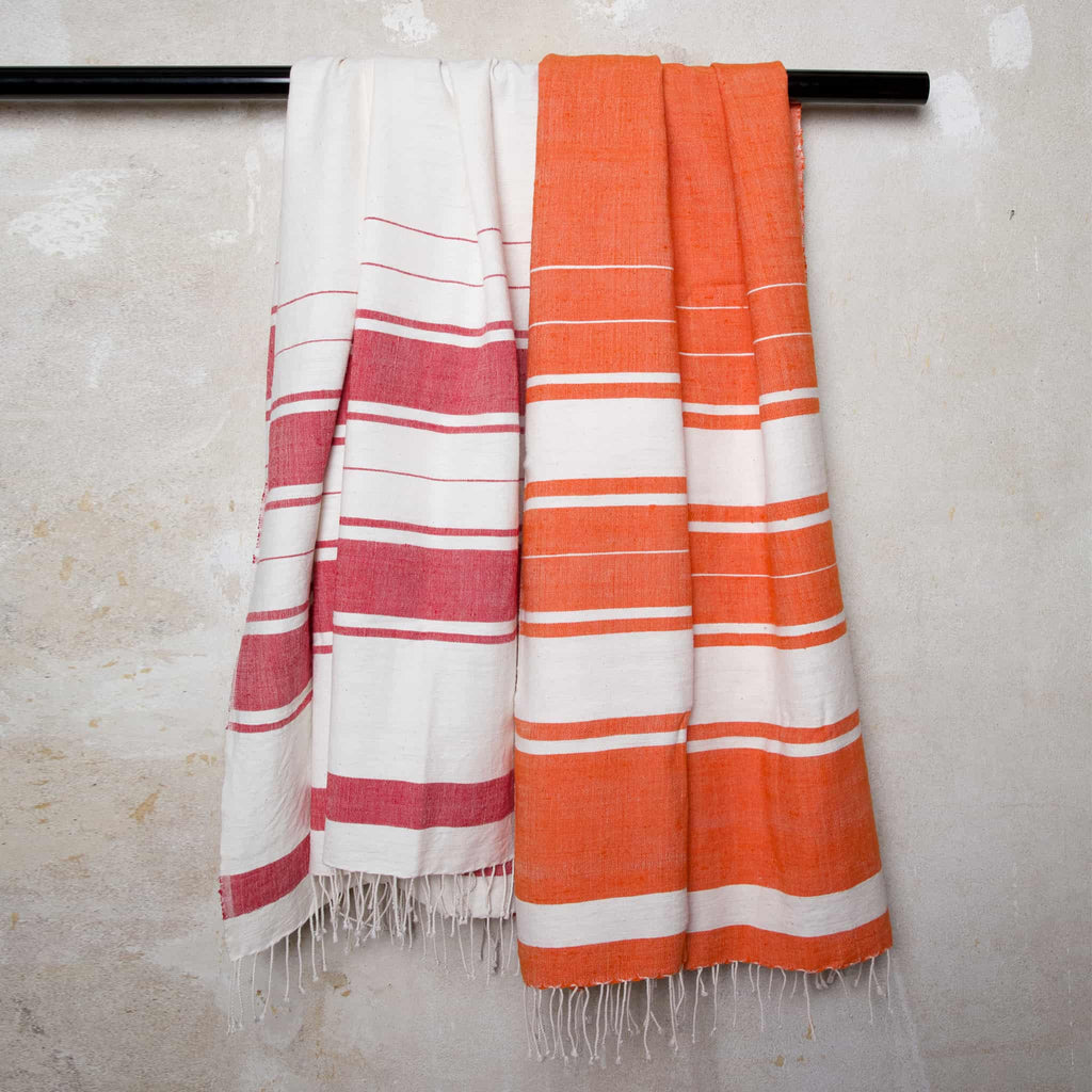Orange Cotton Beach Towels handmade quality from Ethiopia