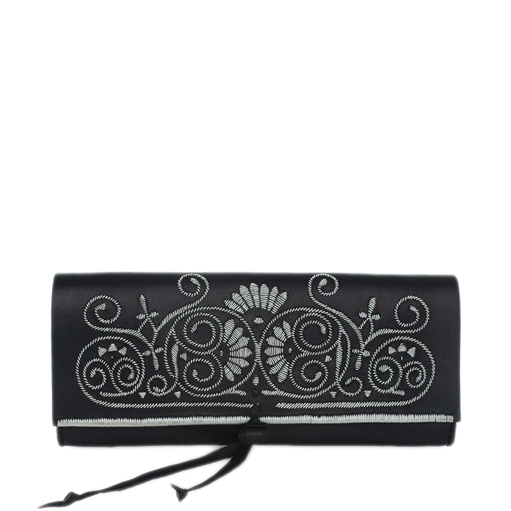 front view black and silver embroidered leather Abury clutch bag