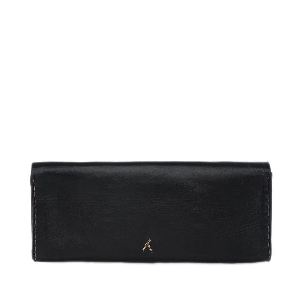 back view black and silver embroidered leather Abury clutch bag
