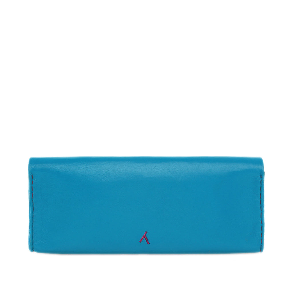 back view blue and pink abury leather clutch bag