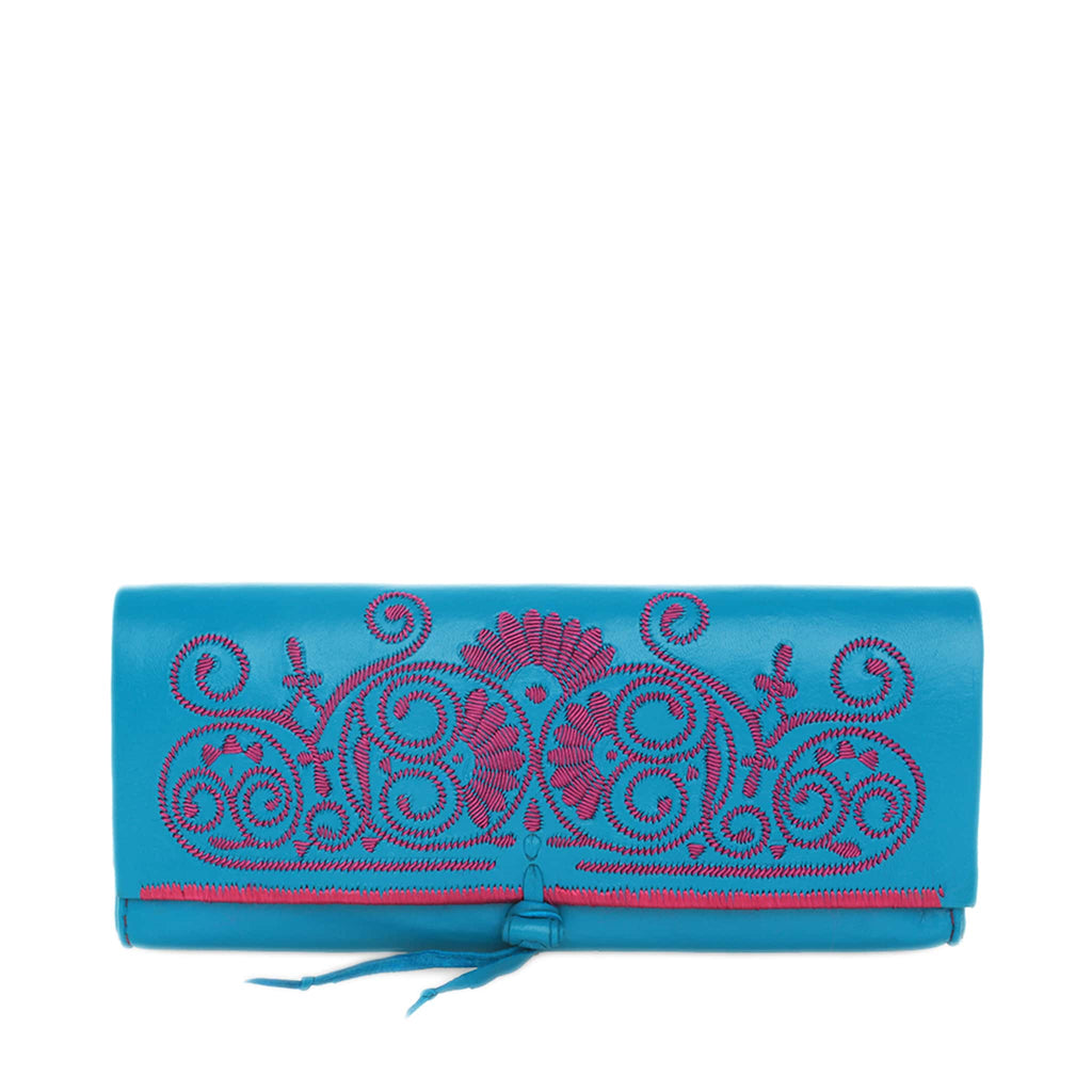 front view blue and pink abury leather clutch bag