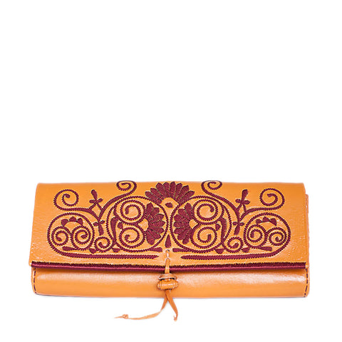 Orange and Red Leather Clutch Bag