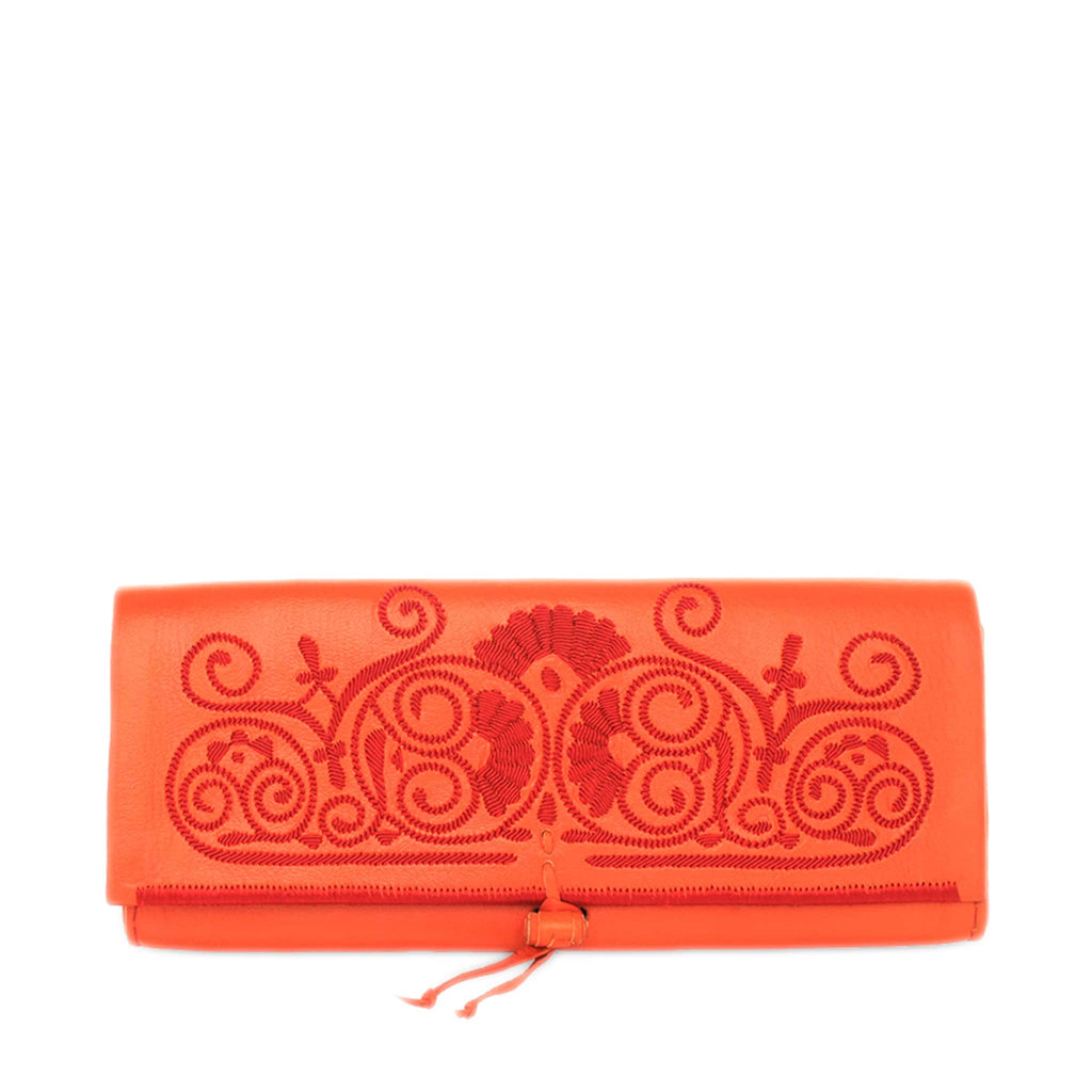 front view orange and red leather abury clutch bag