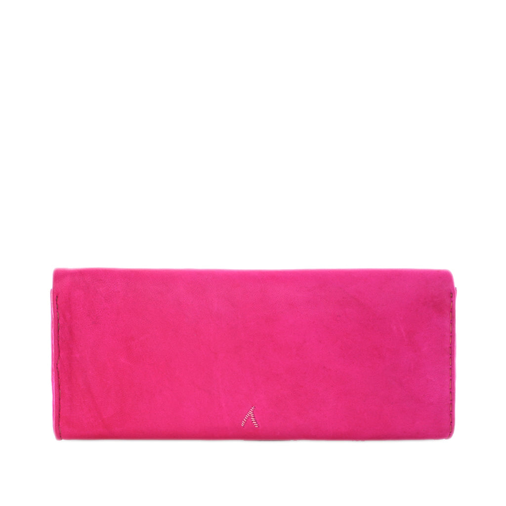 back view pink and rose abury leather clutch bag
