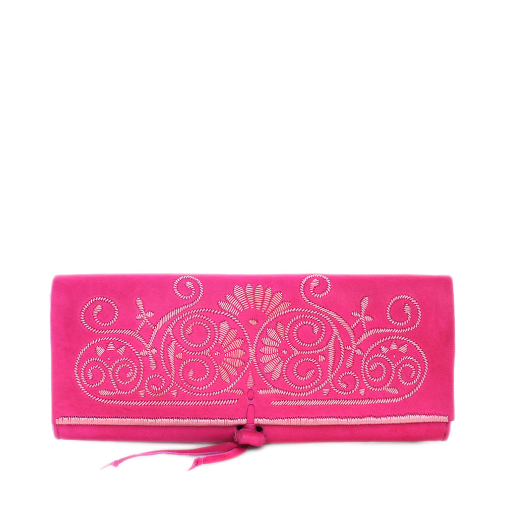 front view pink and rose abury handmade leather clutch bag