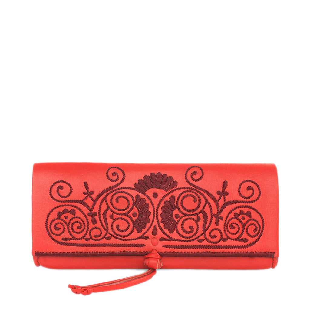 front view of handmade red and dark red abury leather clutch bag