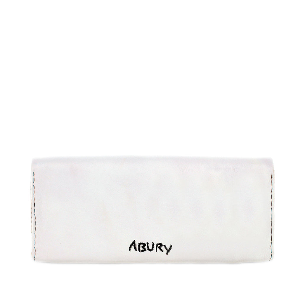 back view white and black embroidered abury clutch bag