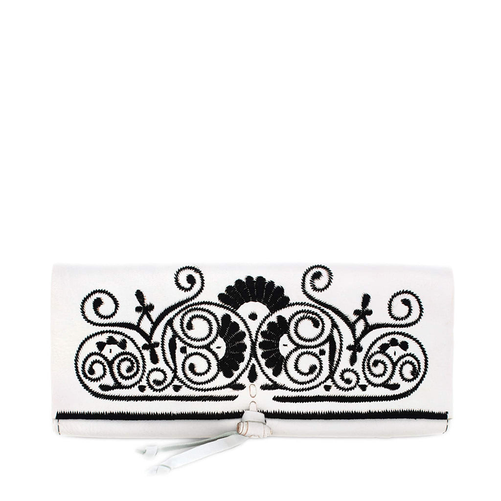 front view handmade white and black embroidered abury clutch bag