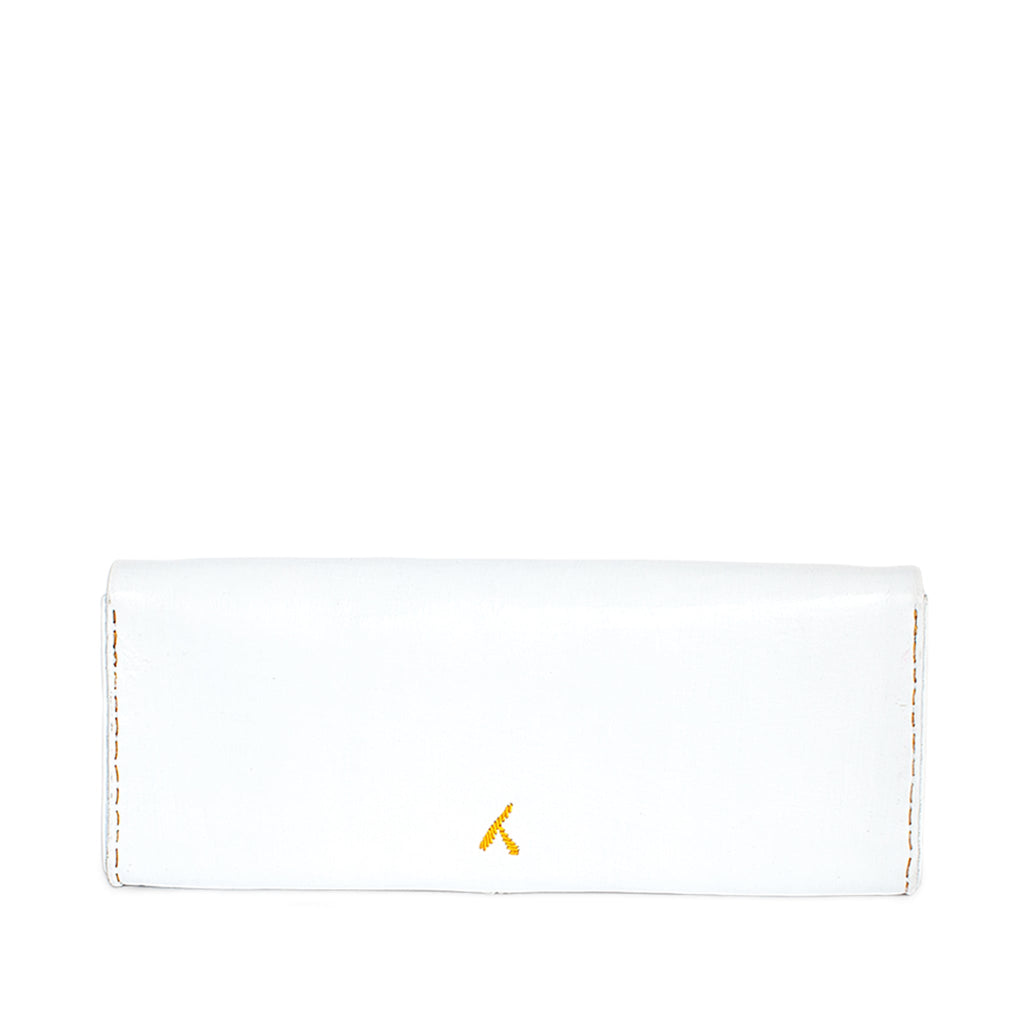 back view of handmade abury white and yellow leather clutch bag