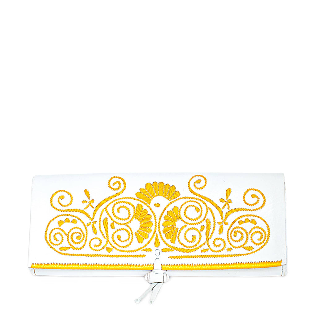 front view of ethically handmade abury white and yellow leather clutch bag