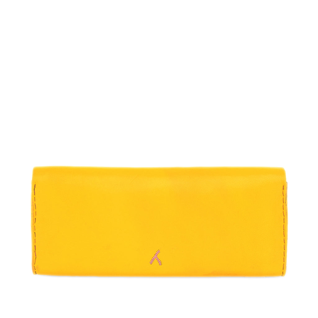 back view of Yellow and Rosé abury Leather Clutch Bag