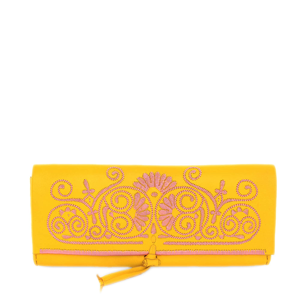 front view of handmade Moroccan Yellow and Rosé abury Leather Clutch Bag