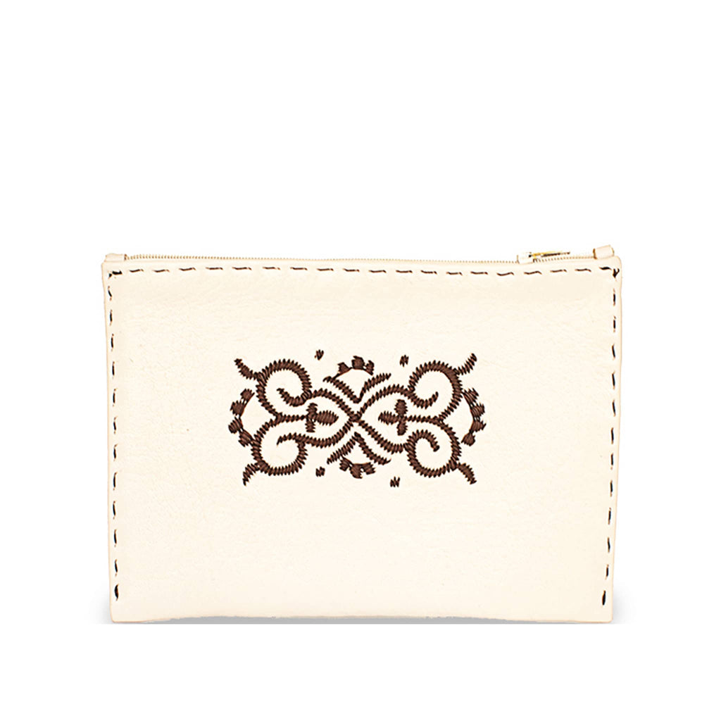 Beige and Brown Embroidered Leather Pouch front view