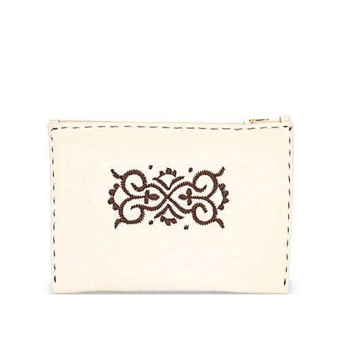 Embroidered Leather Pouch in Dark Brown, Beige