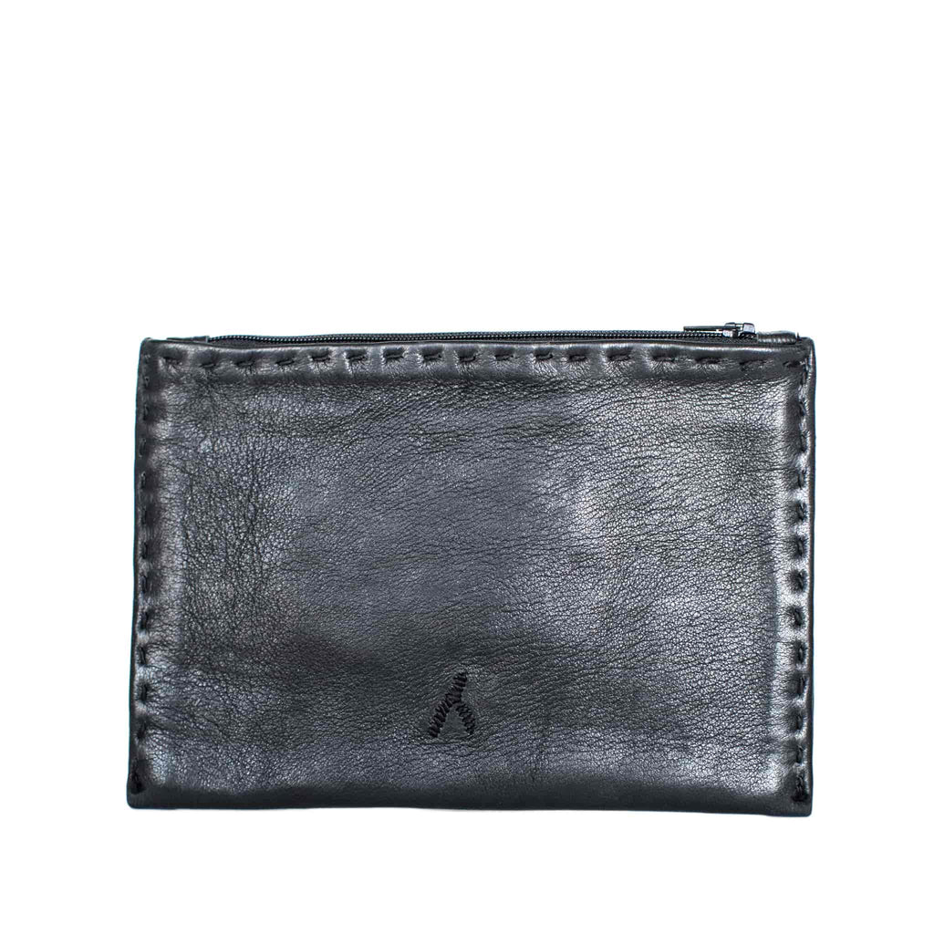 Cactus Silk - Black Embroidered Leather Pouch - wallet for coins from Morocco