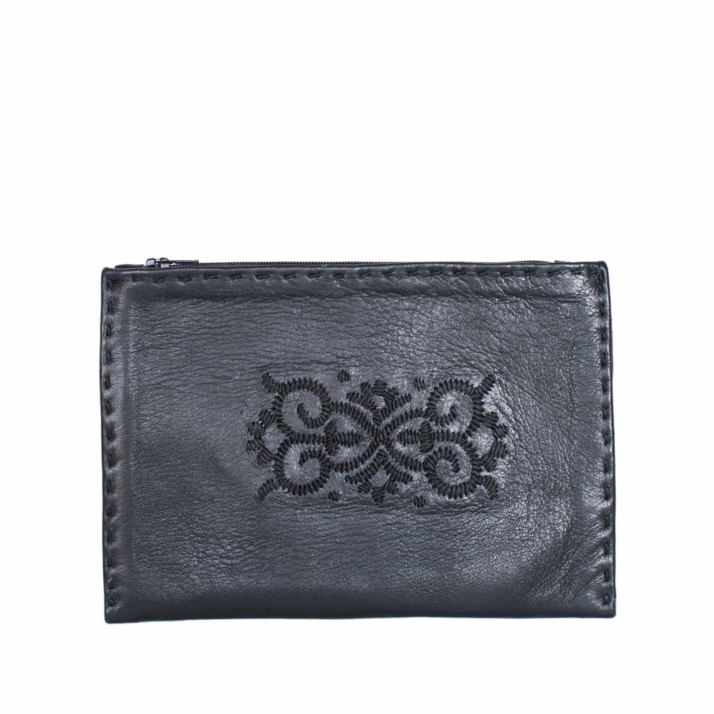 Black Embroidered Leather Pouch - wallet for coins from Morocco