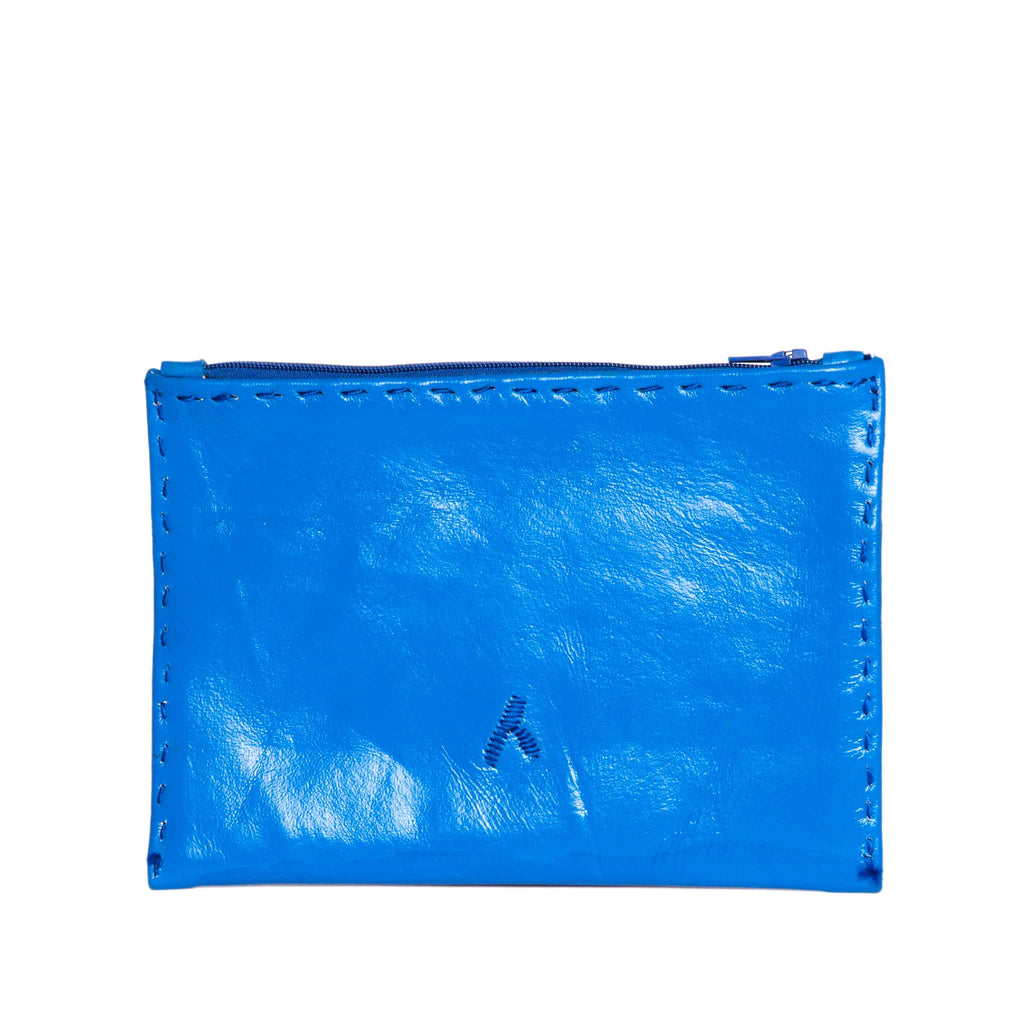 Vibrant Blue Embroidered Leather Pouch - wallet from Morocco