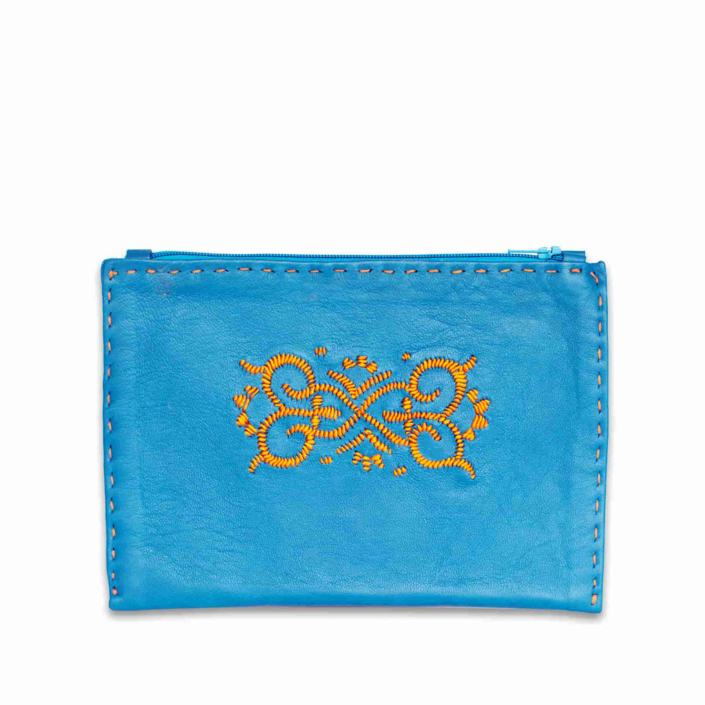 Turquoise and Orange Embroidered Leather Pouch front view