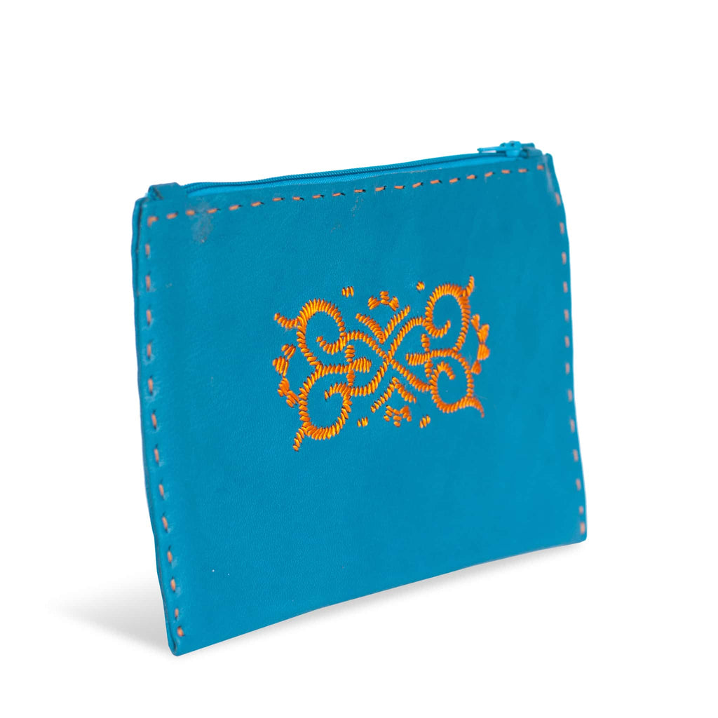 Handmade in Morocco - Turquoise and Orange Embroidered Leather Pouch
