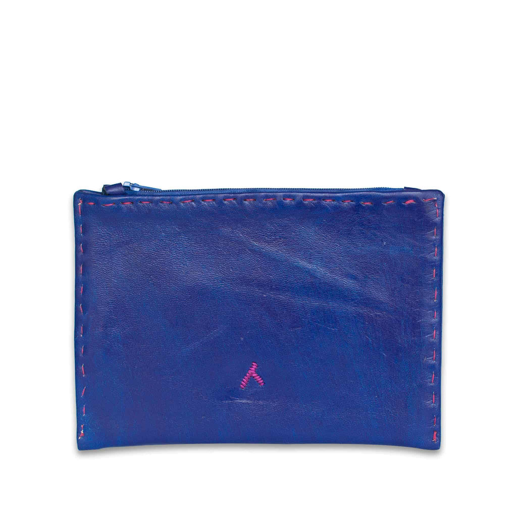 Navy Blue and Pink Embroidered Leather Pouch back view of handmade wallet