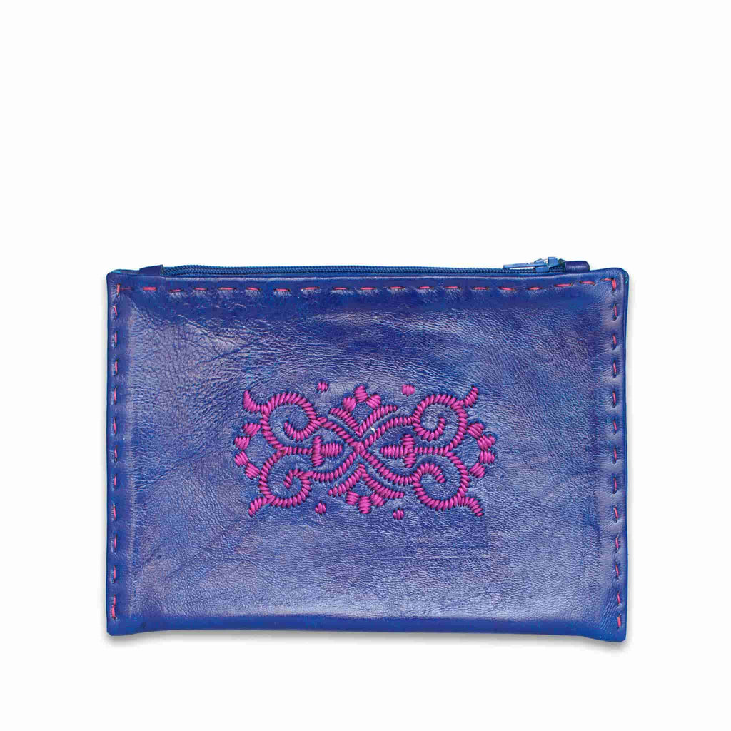 Navy Blue and Pink Embroidered Leather Pouch front view